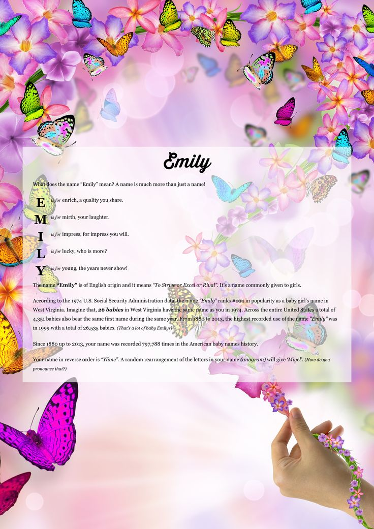 The meaning of name Emily using Freshness from the project pack Flowers.
