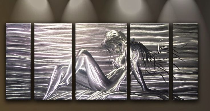Metal Wall Art Abstract Modern Home Decor Contemporary Woman Lady at the Bay