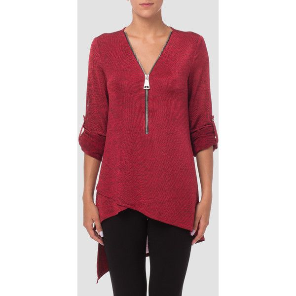 Joseph Ribkoff Tunic Style 173345 ($190) ❤ liked on Polyvore featuring tops, tunics, red, zip front top, layered tops, three quarter sleeve tops, red tunic and ruched sleeve top