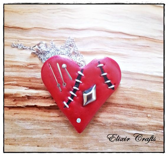 Steampunk Polymer Clay Red Heart Necklace by ElixirCrafts on Etsy