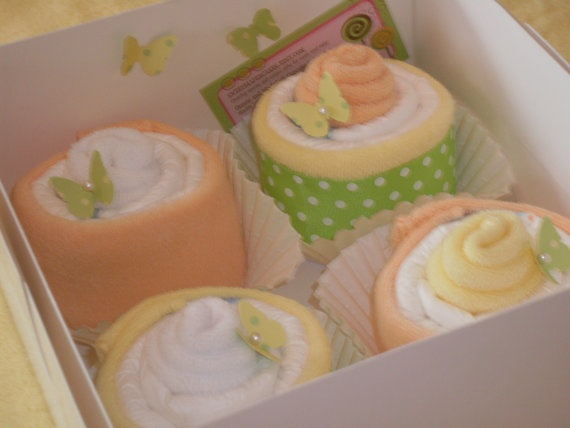 """Sweet gift idea...""""cupcakes"""" made from washcloths and diapers."""