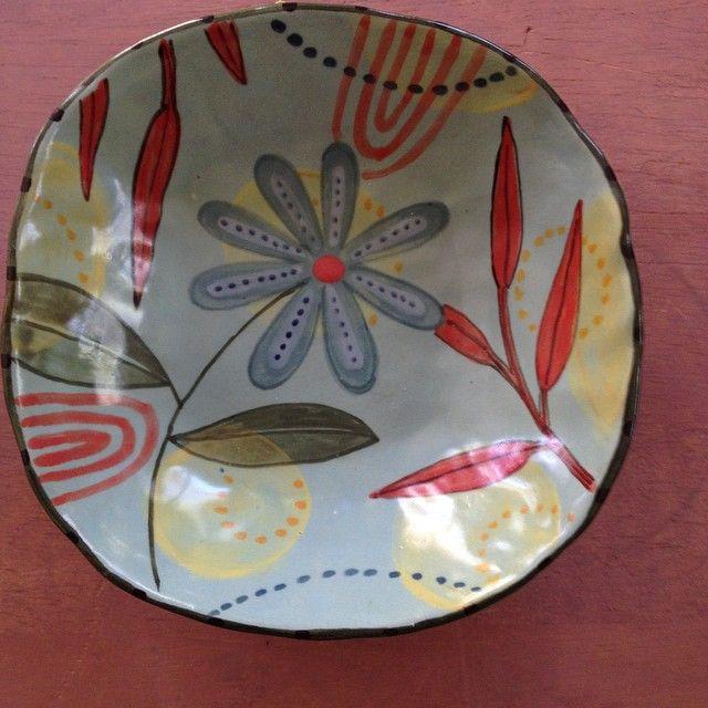 A little blue bowl. #earthenware #handbuiltpottery  #colorful pottery Nancy Gardner
