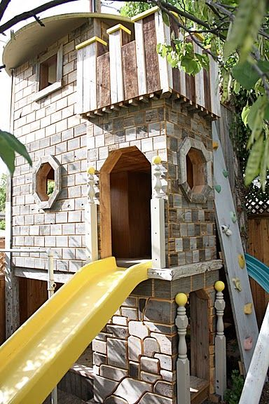 The COOLEST kid playhouse EVER. Made with repurposed stuff too.