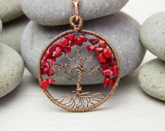 Tree-Of-Life Necklace Pendant 1.8 Copper Wire by JewelryFloren