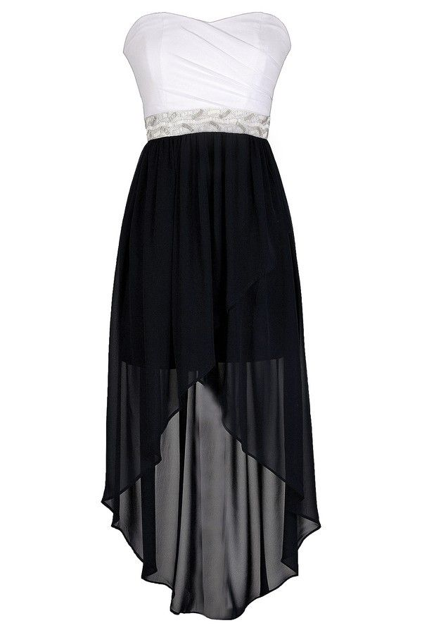 Washed Ashore Embellished Waist Navy and Ivory High Low Dress. Cute Bridesmaids Dress. $66