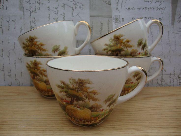 ♥ Vintage Meakin Hayride Tea Cups x 5 - Good Condition - Pop-Up Tea Room ♥