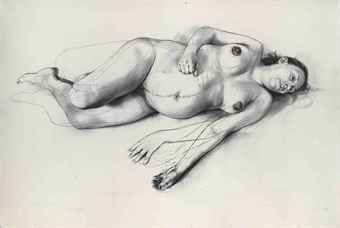 Jenny Saville, Umbilical (2011) [charcoal on paper, 131.5 x 198 cm] - Christies