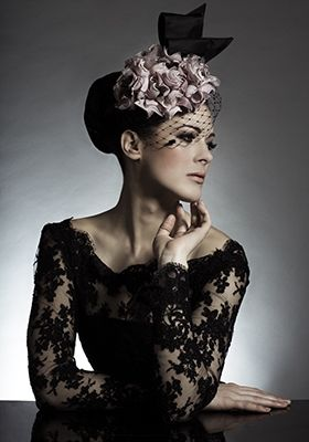 Rachel Trevor-Morgan Millinery - Pink silk petal puff pillbox with spot veil and bow. #passion4hats