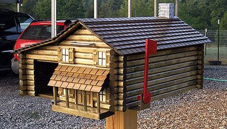 Homemade mailbox ideas log cabin mailbox mailbox made from real logs with integrated - Unique mailbox ideas for your home ...