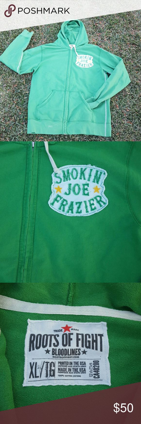 Smokin Joe Fraser Hoddie Smokin Joe Fraser Champion Hoodie  ... great hoodie for boxing fan . Great color in new condition . Roots Of Fight  Sweaters Zip Up