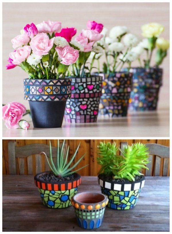 DIY Mosaic PlantersMosaic
