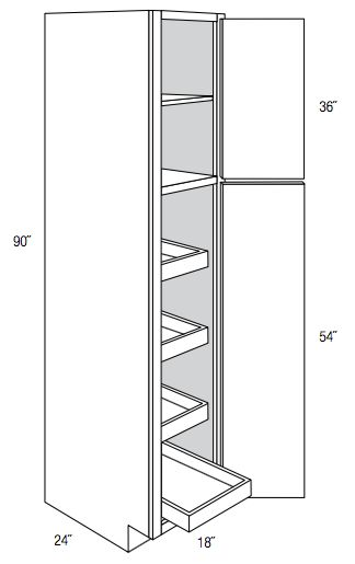 WP1890RT - Wheaton - Pantry Cabinet - Single Door with 4 Rollout Trays - Wholesale Cabinet Supply RTA and Assembled Kitchen and Bath Cabinetry