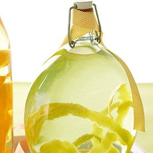 Lemon Vodka | MyRecipes.com.1. Remove zest from lemons with a vegetable peeler and save fruit for another use. Put zest in a 1-qt.* glass jar or decorative bottle. Pour in vodka 2. Close jar tightly and put in a cool, dark place for 1 week. 3. Chill vodka and serve cold; it will take on the color of the zest and will gradually intensify in flavor and get a little cloudy.