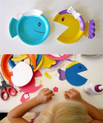 manualidades con niños platos colores4 Manualidades con niños... Peces de colores