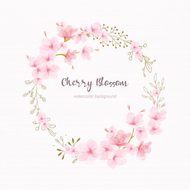 Watercolor Floral Cherry Blossom Frame Vector Prem…