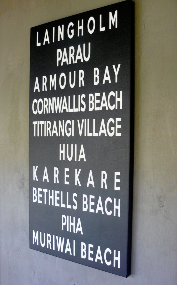 Bus Destination Blind .... this one is 1200mm x 600mm. We can make custom ones with your own words / journey www.mycanvas.co.nz