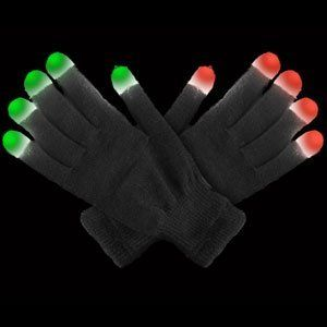 LED Glow in the Dark Light Up Gloves - Black by CoolGlow. $12.99. LED gloves are a HOT new item, perfect for any costume or party! These high quality LED gloves are black with white tips and are made of a cotton knit material. Each fingertip features 3 LEDs (one red, one blue, and one green). 8 modes are available: red constant, blue constant, green constant, red flashing, blue flashing, green flashing, red-blue-green constant, red-blue-green flashing, and color-...