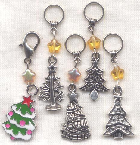 Christmas Tree Knitting Stitch Markers Xmas Christmas Trees Set of 5/SM138
