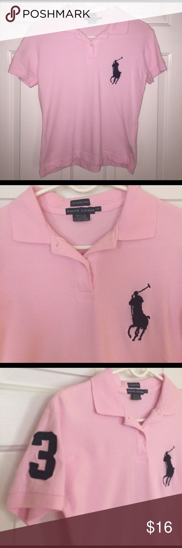 "Ralph Lauren Skinny Polo Adorable pink polo shirt by Ralph Lauren. Large emblem and the number ""3"" on the sleeve. ""The Skinny Polo"" Ralph Lauren Tops"