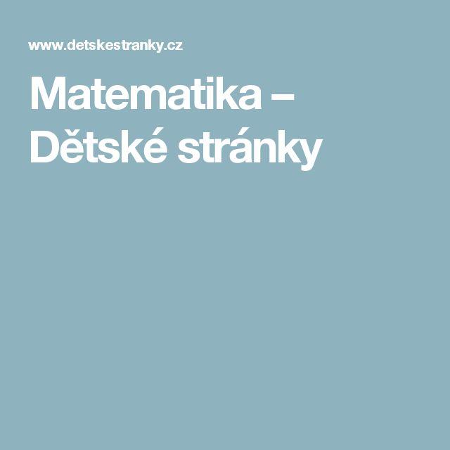 Matematika – Dětské stránky