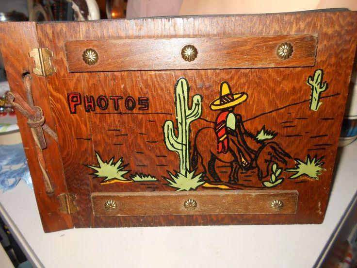 Mid Century Hand Painted Wood Photo Album Cactus Donkey Southwestern Vintage #UnbrandedGeneric