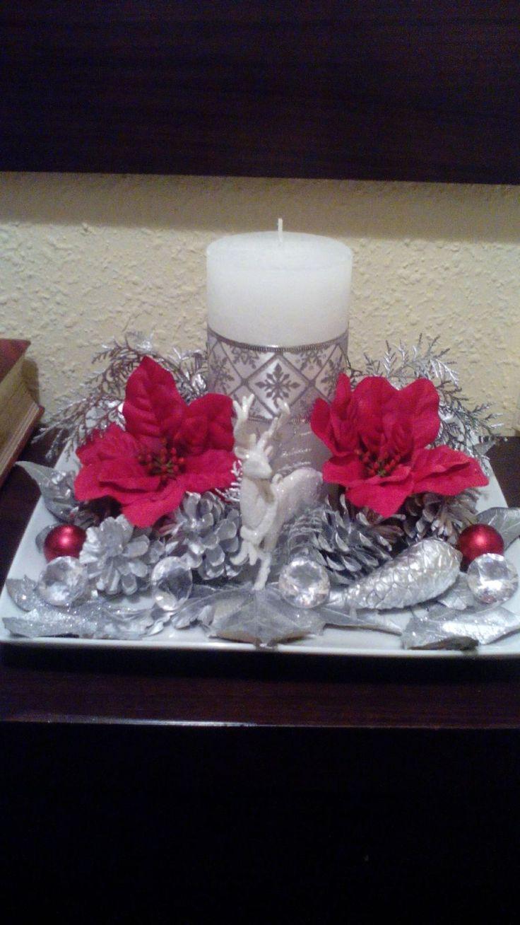 Centro de mesa navideño en color plata
