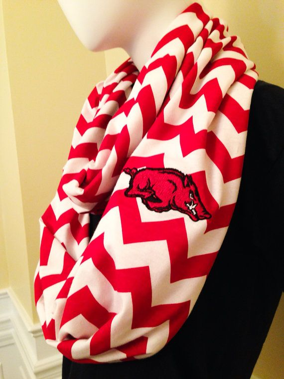 Go Hogs!! Arkansas Razorbacks Inspired Red and White Chevron  Infinity Scarf on Etsy, $23.99