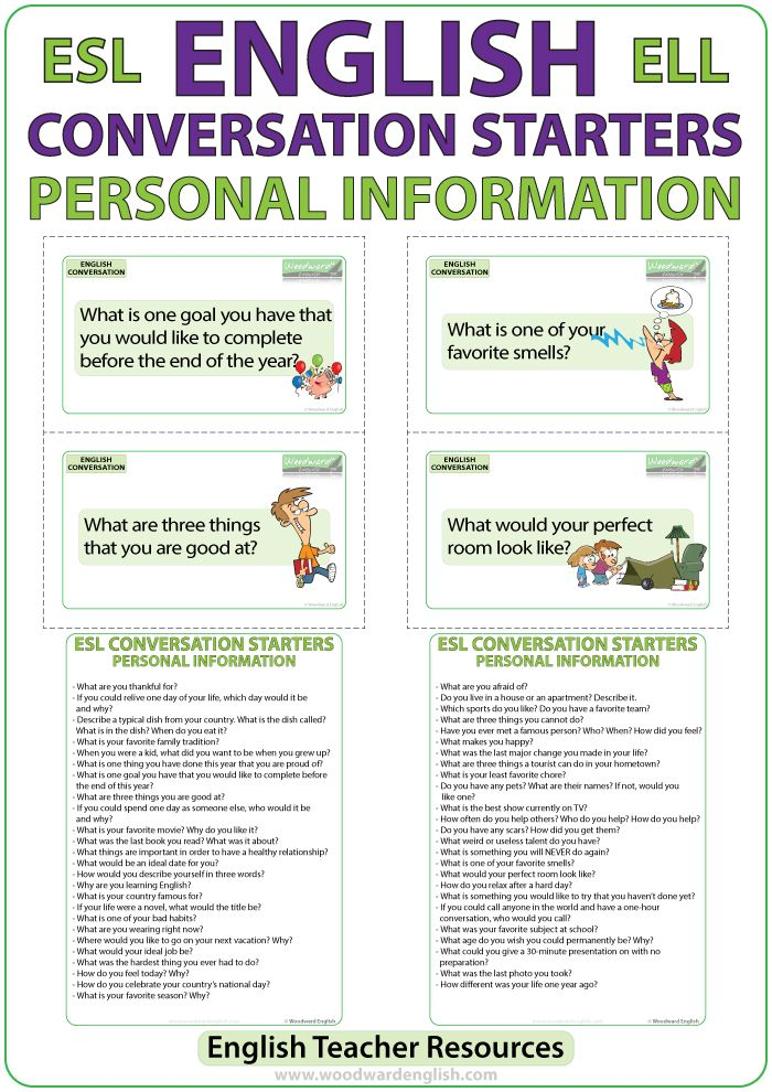ESL Conversation Starters – Personal Information Flash Cards for English Speaking Practice #ESL