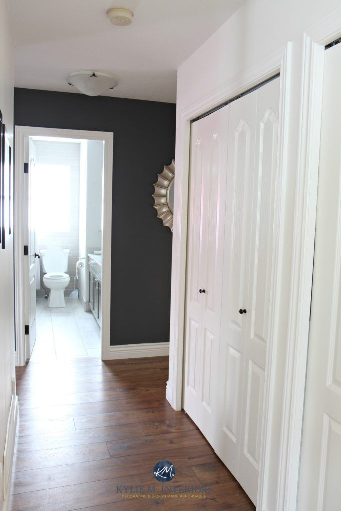 Hallway Update With Laminate Wood Look Flooring, Benjamin Moore Gray  Feature Wall, Sherwin Williams