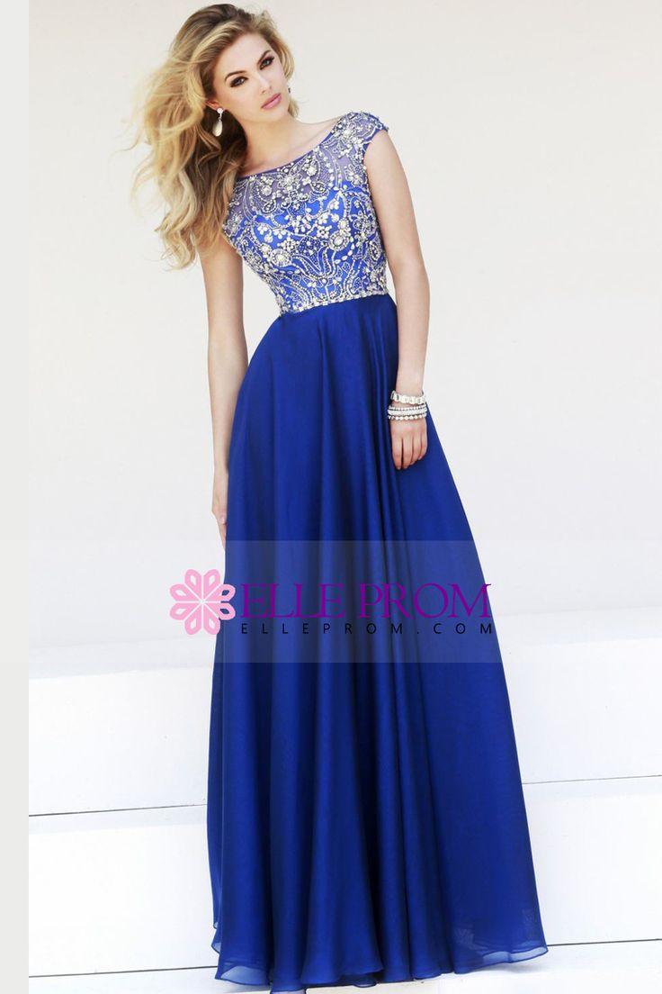 2015 Prom Dresses A-Line Scoop Floor-Length Chiffon Dark Royal Blue Beaded Bodice