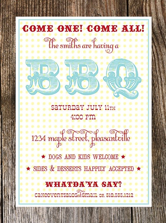 Backyard Barbecue Party Invitation Summer BBQ By Cakeevents