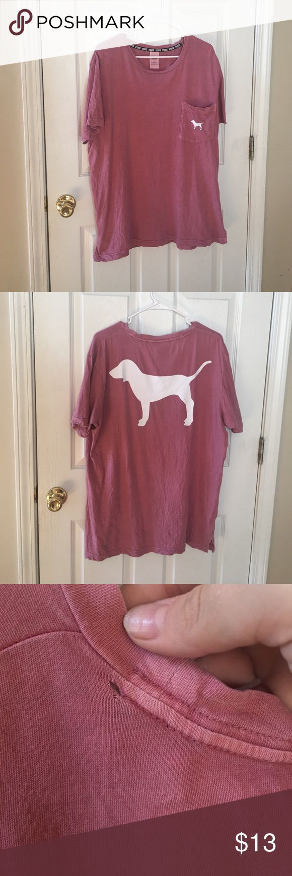 PINK t shirt 💕 Salmon/pink color shirt! Worn a few times! Has a small and tiny hole near the back neck line but nothing else wrong with it! PINK Victoria's Secret Tops Tees - Short Sleeve