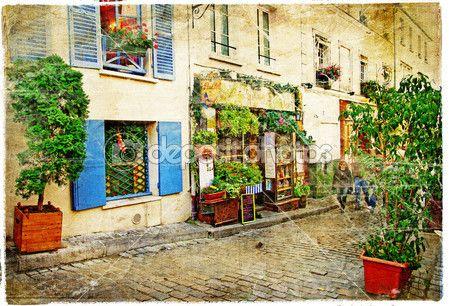 Вуличками старого району Монмартр (Париж)-аквареллю стиль — стокове зображення #18315387