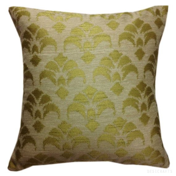 Handmade Ikat Throw Pillows : Handmade Silk Ikat Pillow Olive Green Ivory Throw by DesiPillows, $24.00 Good House Keeping ...