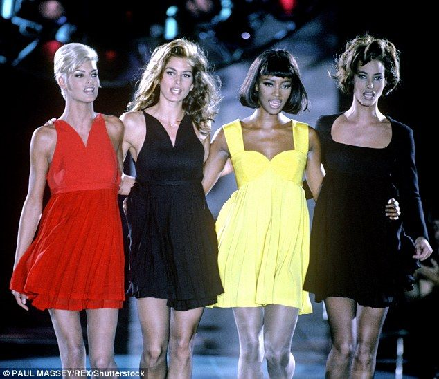Catwalk queens: Linda Evangelista, Cindy Crawford, Naomi Campbell and Christy Turlington during the height of their fame in 1991