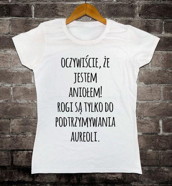 Koszulka damska: Oczywiście, że jestem aniołem w uczarnego na DaWanda.com