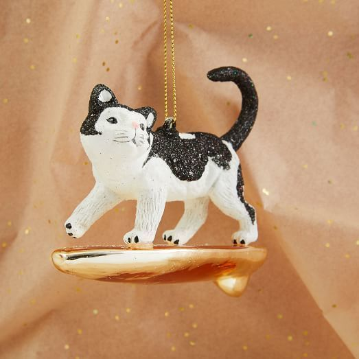 Glass Surfing Cat Ornament