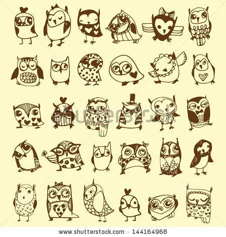 Cute little owls....line drawing tattoo ideas