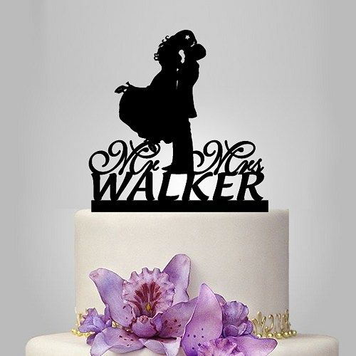 personalized wedding cake topper with name wedding silhouette