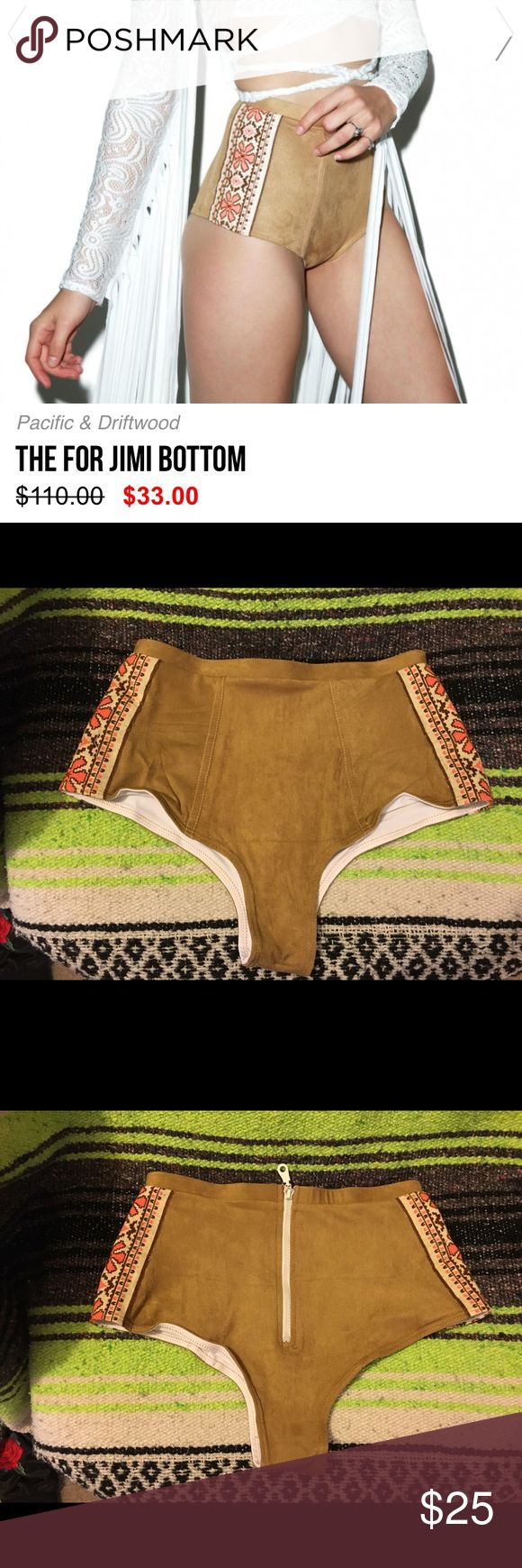 "suede bikini bottoms High waisted, cheeky, festival vibes, ""jimi"" bikini bottom from dolls kill. Size small but tag is cut out, never worn!! Swim Bikinis"