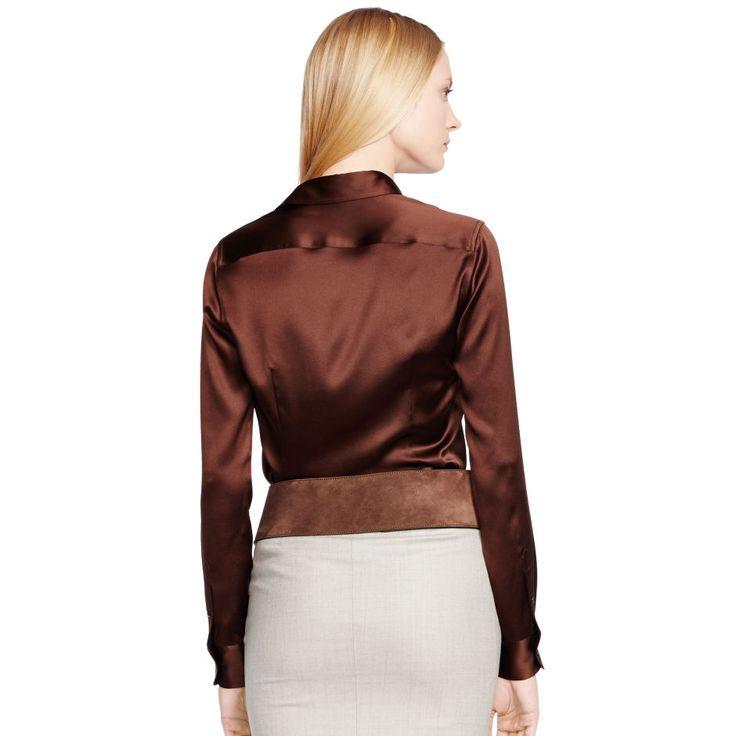 Rachel Stretch-Silk Shirt - Long-Sleeve  Tops & Polos - RalphLauren.com