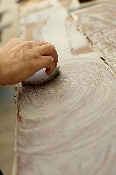 #wood becomes alive and #organic material that actively interacts with the #clay. These two #natural elements combining chemically, are leading to a spontaneous and beautiful aesthetic result, unique and unpredictable each time. Clay is manually spread over the #parquet #plank. Clay performs a role of natural mordent and interacts with tannins modifying wooden planks #colour in always unexpected and fascinating manner. #madeinitaly #home #design #artisan #handmade #flooring
