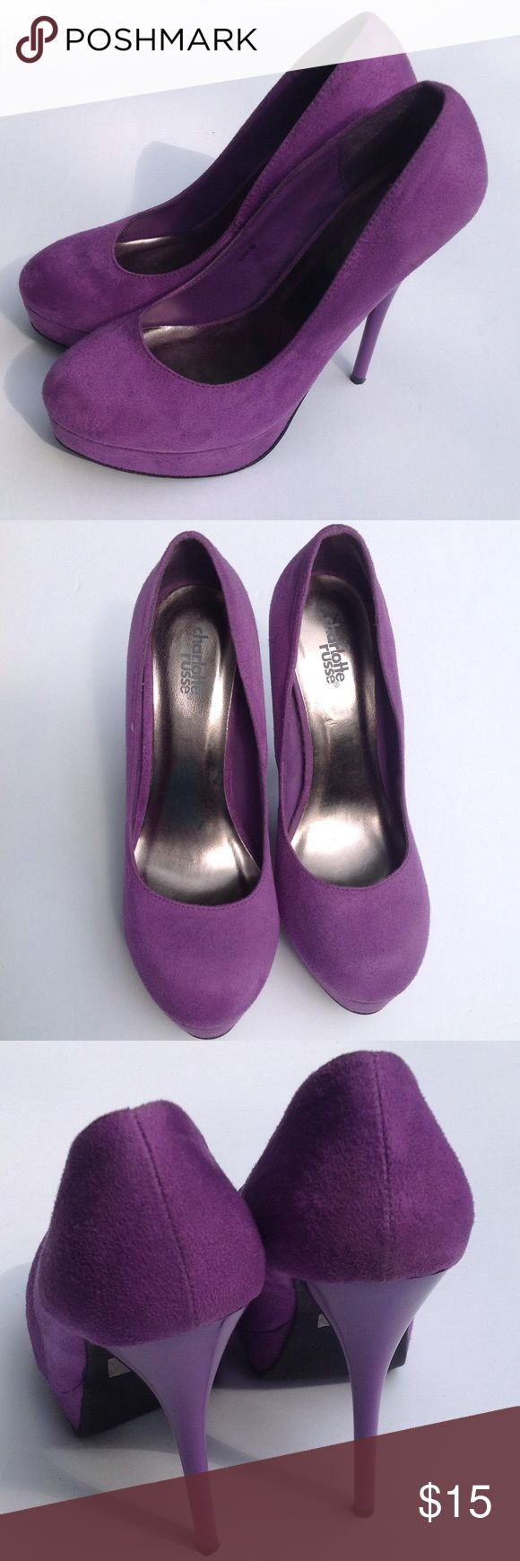 ✨ Charlotte Rousse Purple Faux Suede Platforms ✨ Charlotte Rousse Purple Microsuede Platforms❤️ Stunning Super Excellent Condition Worn only 3 times you can see some slight scrapes on bottom soles from the concrete parking lot... In photo #4 Charlotte Russe Shoes Platforms