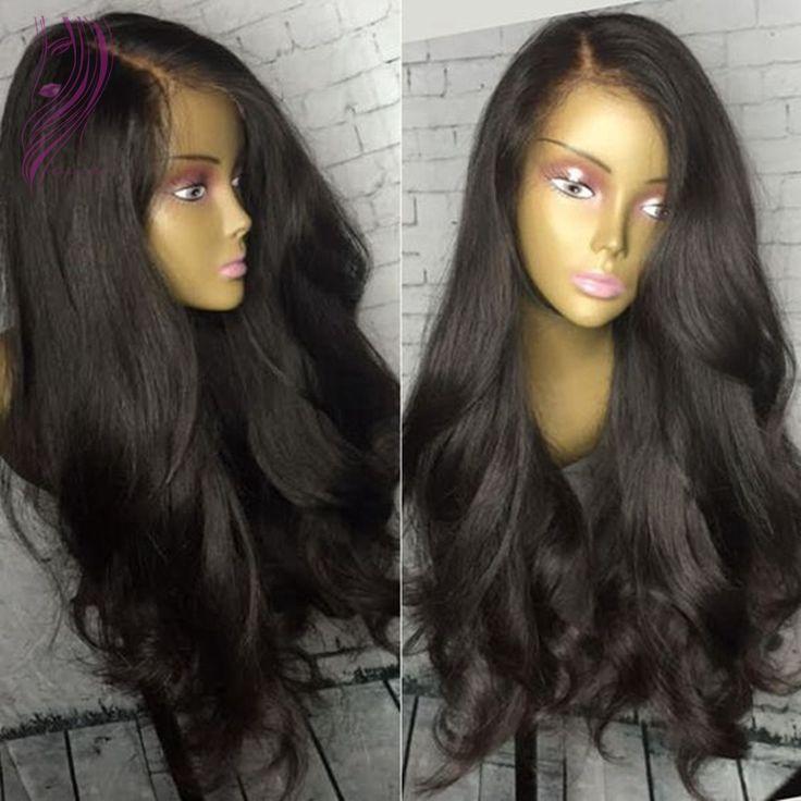 6A de haute Qualité À Long Doux Naturel Vague Synthétique Avant de Lacet Perruques avec Bébé Cheveux Noir Perruque Synthétique Pleine Perruque de Lacet Expédition Rapide