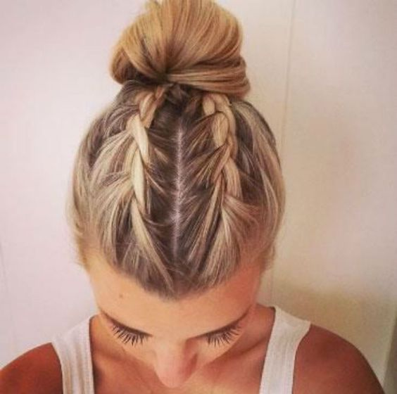 french braid hairstyles | updo | bun | two | cute | simple | blonde