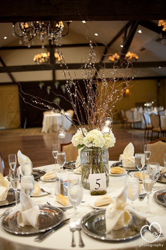 Pussywillow centerpieces | Love this floral/stick centerpiece | wedding