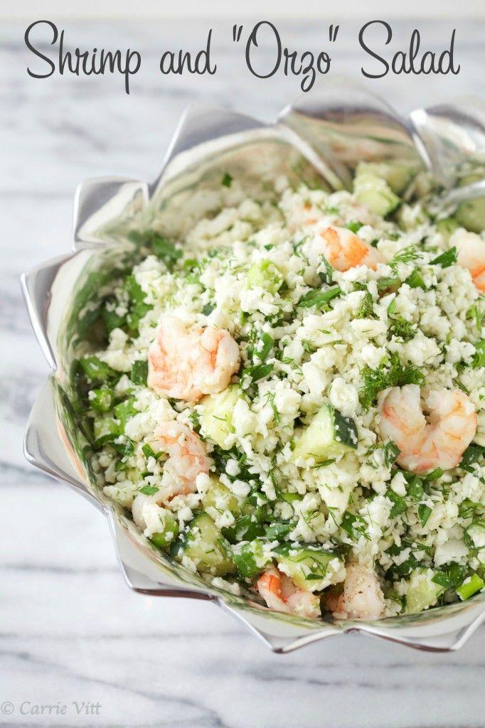 "Shrimp and ""Orzo"" Salad (Grain Free, Primal, Paleo) - Deliciously Organic"