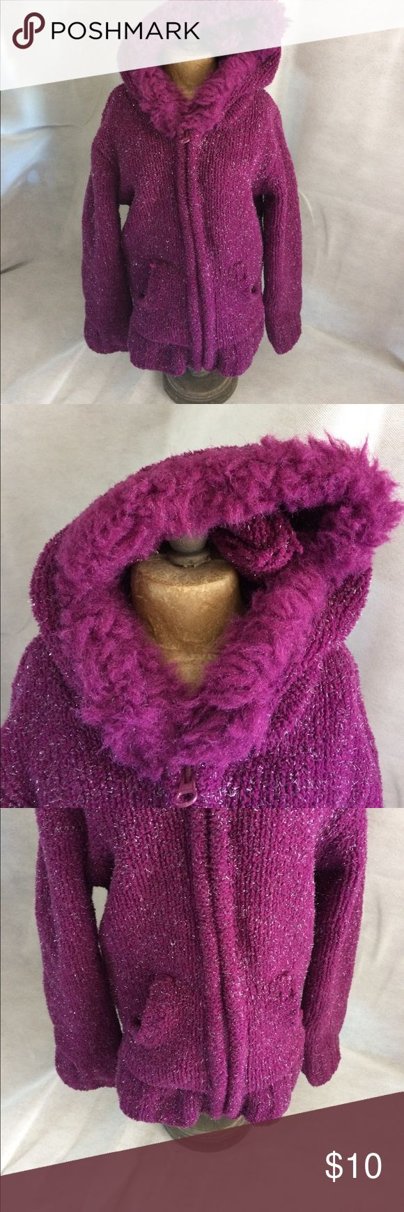 Purple zip up jacket Is the purple zip up jacket with the hood. The hood has fuzzes around it. Good condition no rips holes or tears or stains Cherokee Jackets & Coats