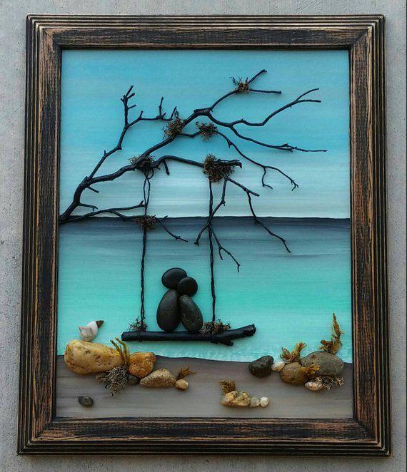 "Pebble Art, Rock Art, Pebble Art Couple in a swing on the beach, honeymoon, anniversary, unique pebble art, ""open"" 8X10 frame"