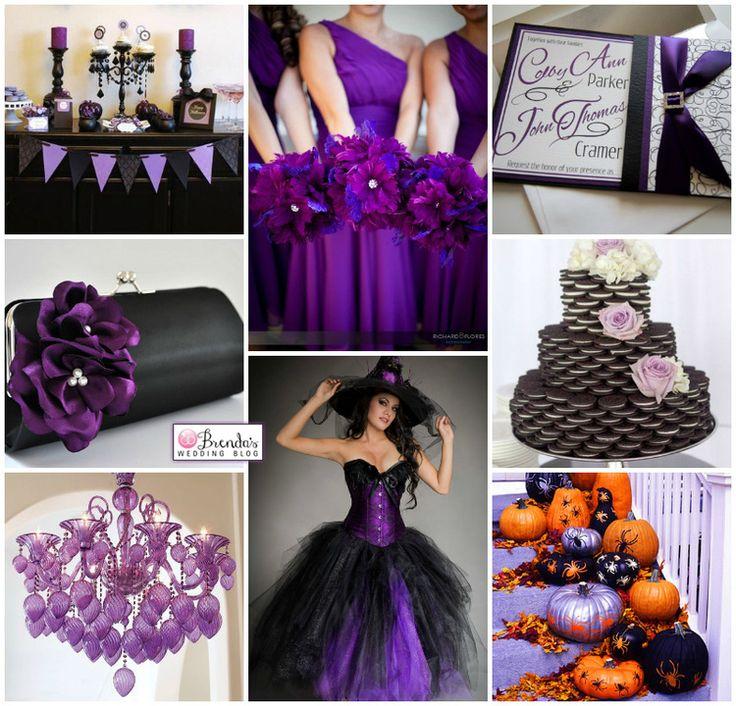 Black & Purple Halloween Wedding Inspiration Board with a Cookie Cake — Brenda's Wedding Blog - stylish wedding inspiration boards - affordable wedding ideas - wedding vendors